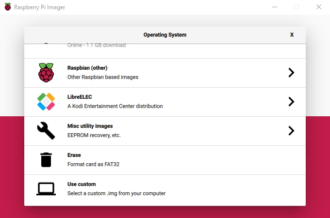 Pi Imager menu